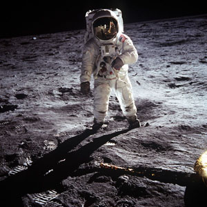 Aldrin on the moon. Neil Armstrong's probably still annoyed that he was the one with the camera.