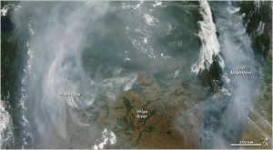 NASA picture of the wildfires in Central Russia